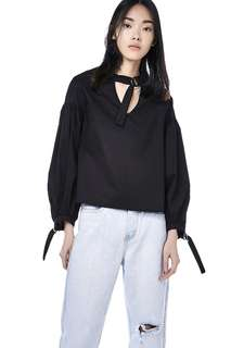 The Editor's Market Black Choker Strap Top