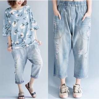 Plus Size Loose elastic waist old casual pants harem pants jeans pants