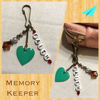 Handmade Bag Charm Zipper Pull - Faith