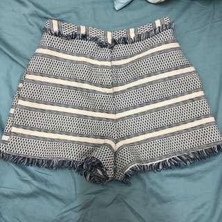 Asos high waist light blue pattern shorts