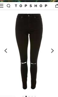 TOPSHOP LEIGH JEANS - LIGHT BLACK DENIM