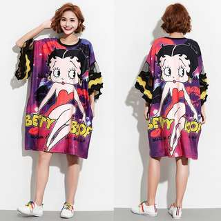 Plus Size European cartoon printing long T-shirt skirt