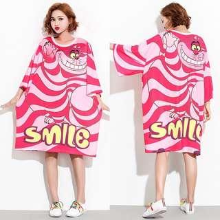 Plus Size Women's dress cartoon print T-shirt dress