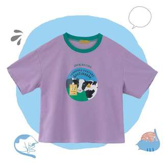 BN ULZZANG harajuku oversized pastel milk cow cheese purple and green tee/tshirt
