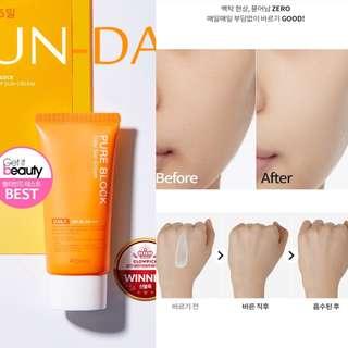 [韓國美容節目Get it Beauty 推介] A'pieu Pure Block Daily Sun Cream 皇牌天然防曬霜 SPF45 PA+++