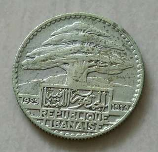 Lebanon 1929 10 Piastres Silver Coin With Good Details