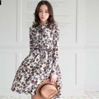 韓國小花立領打結厚雪紡縮腰洋裝