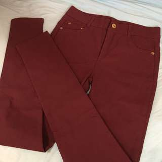 100%new! Korea Red Jeans 全新韓國棗紅色牛仔長褲