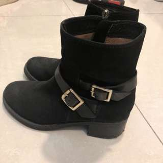 Staccato black leather boots shoes heels 短靴 真皮