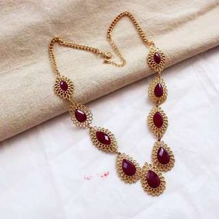 Ladies Bohemian Elegant Maroon Golden Statement Necklace