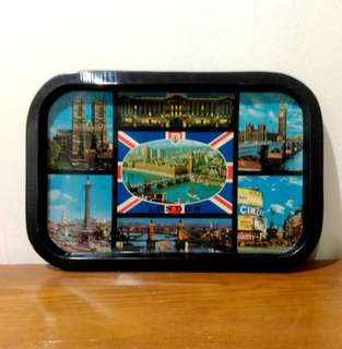 Vintage London Tin Serving Tray