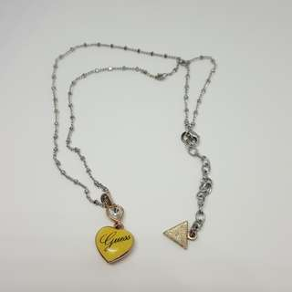 Authentic Guess Necklace Silver Small Yellow Heart With White Crystal