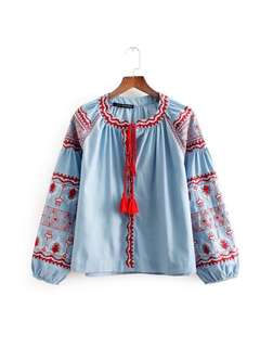 Loose fitting European Women's Fashion Tassels with Denim Embroidered Top