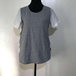 Gray / White Blouse