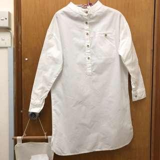 文青白色恤衫裙 white shirt dress