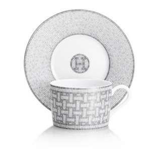 Hermes Mosaique au 24 Platinum Teacup & Saucer