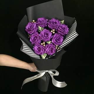 9 Ribbon Rose Bouquet Graduation Mothers Day