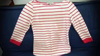 Cache-Cache Pink Stripes 3/4 Sleeve top