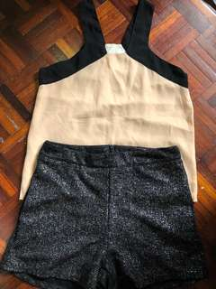 1 set glittery short and sexy top