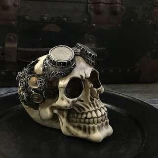🚚 限量 超酷蒸氣龐克骷髏工藝擺飾 個性家飾禮品 頭骨 Skull