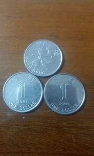 香港錯體 磁鐵硬幣 1993 一元 共十套 三個五十元