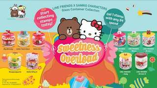 WTT - LINE FRIENDS X SANRIO CHARACTERS GLASS CONTAINER COLLECTION -  MY MELODY / BROWN / CONY / SALLY