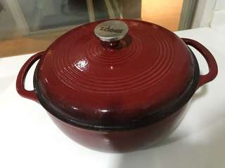 Lodge enameled cast iron pot red