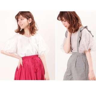 18春夏新款  官網同步日本品牌Natural Couture復古紗燈籠袖短袖手工釘珠衫上衣