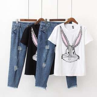 (XL~5XL) 2018 Summer Korean Fashion Cartoon Sequins Short Sleeved Hole Jeans Set