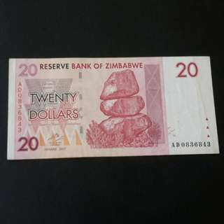 20dollars -tahun 2007 Zimbabwe utk di jual