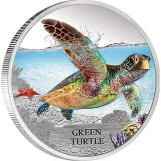 Endangered and Extinct – Green Turtle 2014 1oz Silver Proof Coin at The Perth Mint