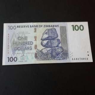 100 dollar Zimbabwe tahun 2007 utk di jual