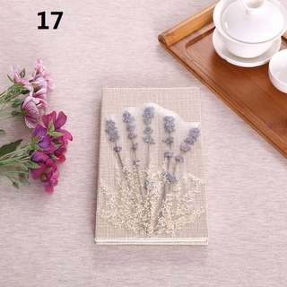 No. 17 Handmade Travel Journal Diary Notebook, Unique Artistic Hardcover With Real Flowers, Perfect for Personal Notes, Diaries, Thoughtful Gifts, Art Collection