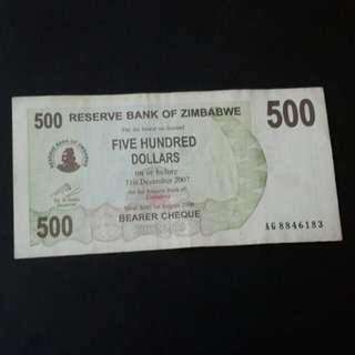 500 dollar Zimbabwe 2007 utk di jual...