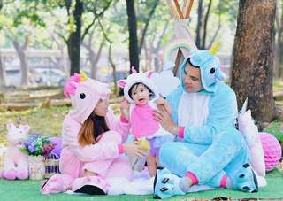 Unicorn onesies with claw shoes family set