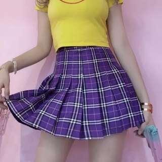 紫色格紋高腰百摺裙 附安全褲