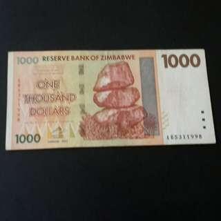 1000 dollars Zimbabwe 2007 utk di jual