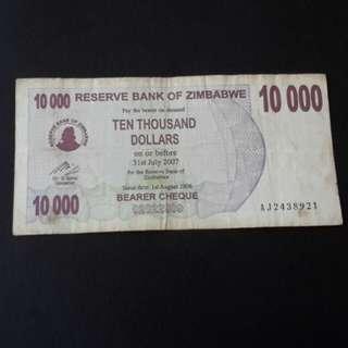 10,000 Ten Thousand dollars Zimbabwe 2007 utk di jual