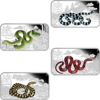 Buy the Lunar Calendar Series - 2013 Year of the Snake 1oz Silver Four-Coin Set