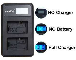 Seiwei NP-FW50 NPFW50 USB Dual Rapid Battery Charger with LCD Screen