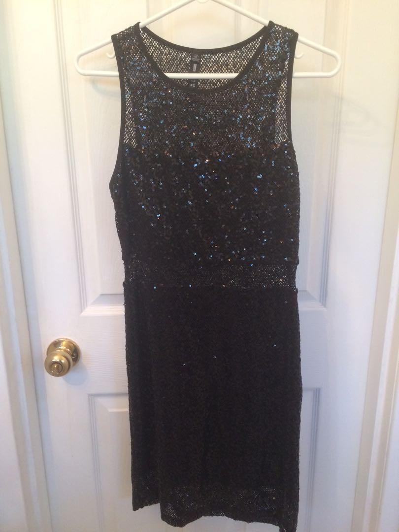Black sequins party dress size M