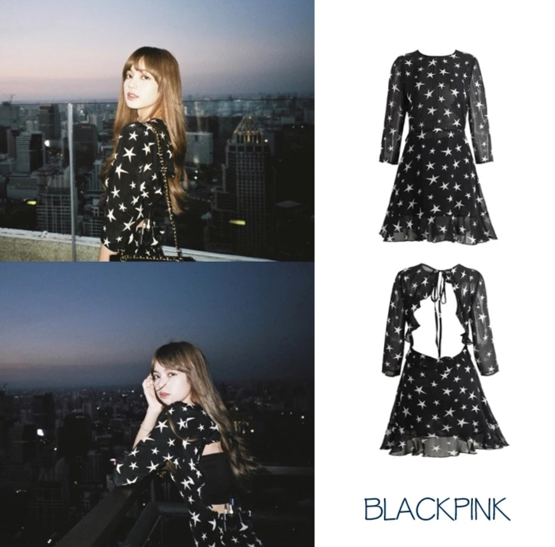 Blackpink Lisa Star Studded Bare Back Dress Entertainment K Wave