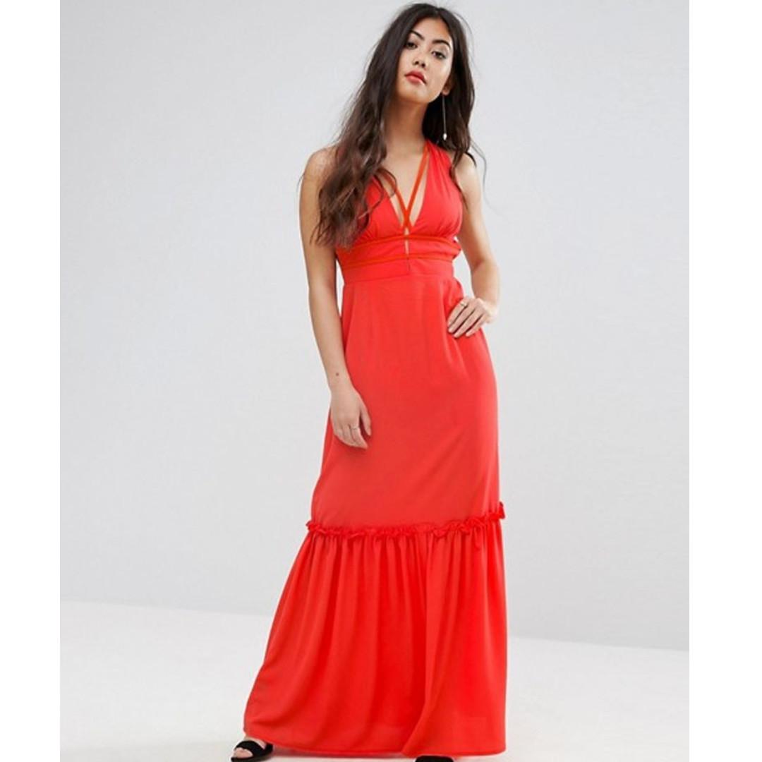 e64da516d247 Boohoo Petite Cross Back Red Maxi Dress, Women's Fashion, Clothes ...