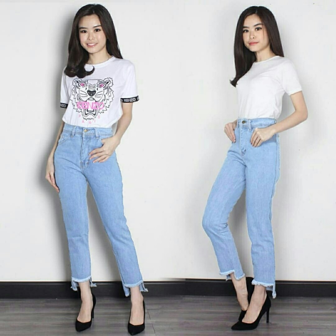 Fringe Boyfriend Pants. Celana Wanita Jeans Rumbai Ripped Sobek Jumbo Murah, Women's Fashion, Women's Clothes, Bottoms on Carousell