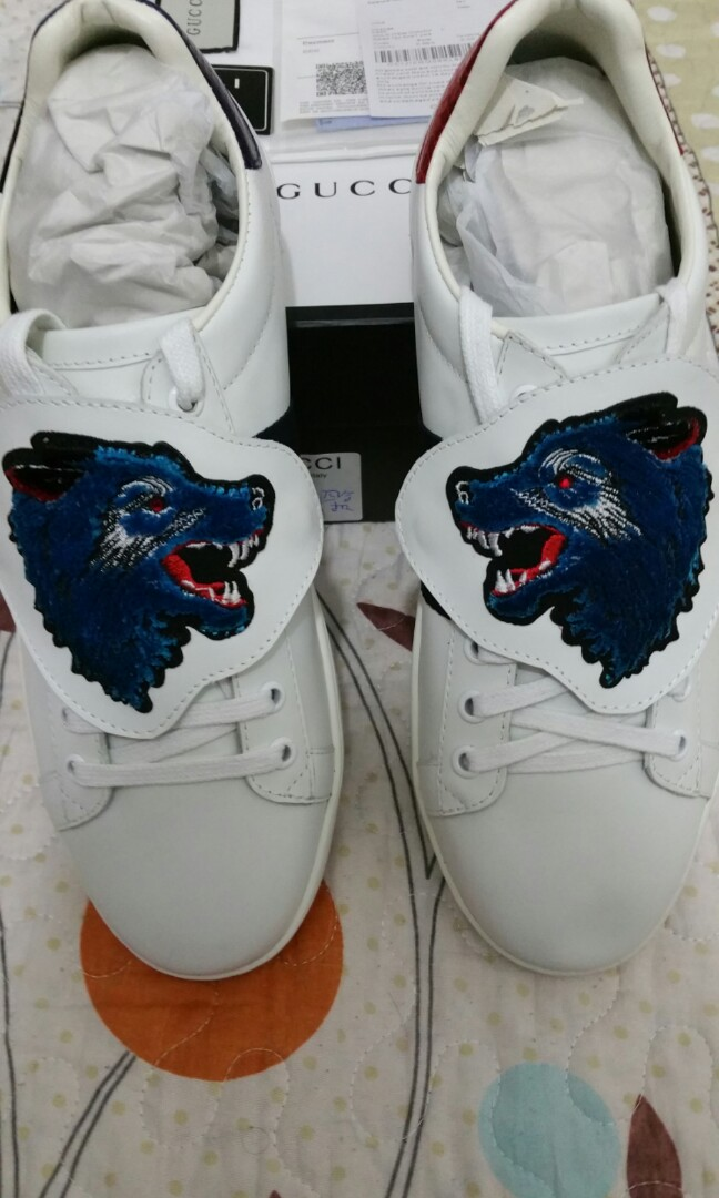 bdfaab23129 Brand New Gucci Ace Wolf Patch Instock!