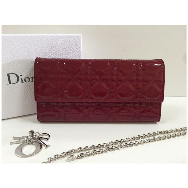 Lady Dior Croisiere Wallet On Chain in Red Patent Calfskin 75d2748ef2c08