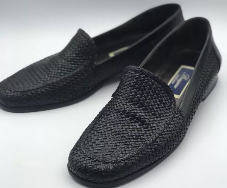 9741ead7bcd Men s BRAGANO Black Woven English Calf Leather Slip-On Loafers Size US8.5 M  Italy.