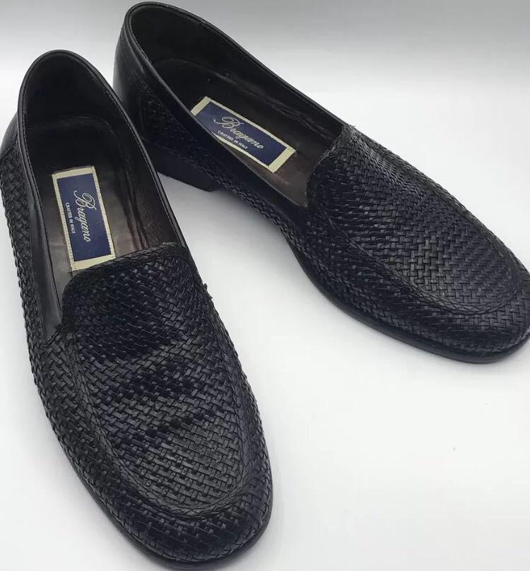 6f3bb35c415 Men s BRAGANO Black Woven English Calf Leather Slip-On Loafers Size ...