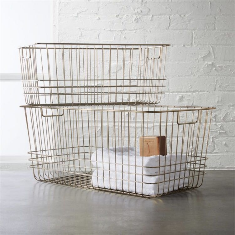 Metal Wire Basket in Rose Gold Tone