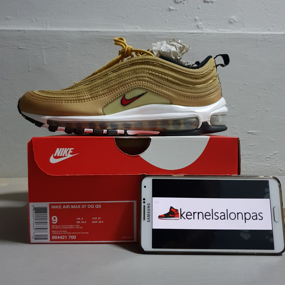 01168e1ef3 Nike Air Max 97 OG QS Gold US9, Men's Fashion, Footwear, Sneakers on ...